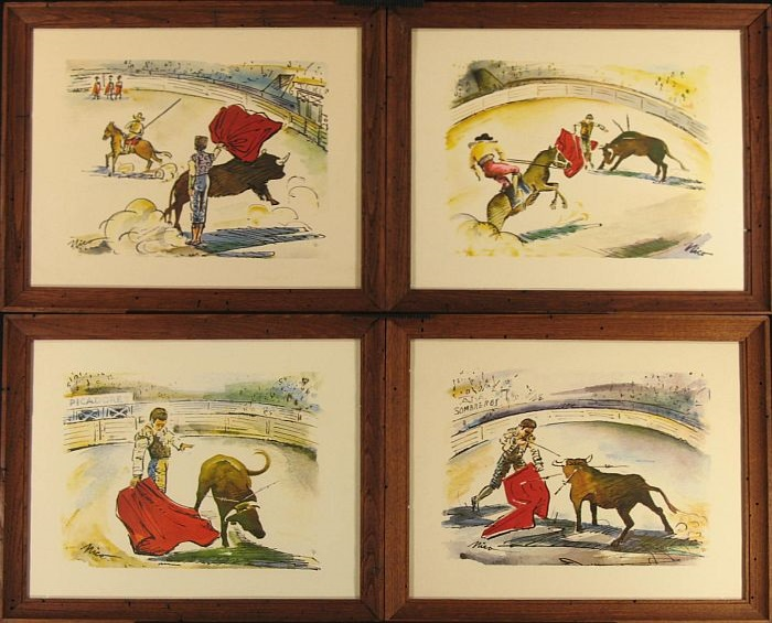 Rare 1953 I.B. Fischer Co. Prints by Mico: Bullfight Suite of Four