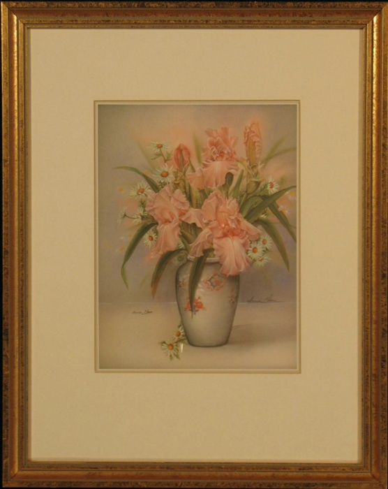 Anna Chen Pencil Signed Still Life Floral Print: Iris with Daisies