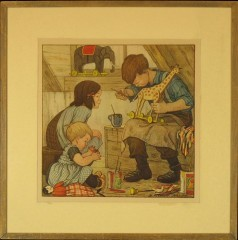 "Vintage Lithograph: ""Winter Work"""