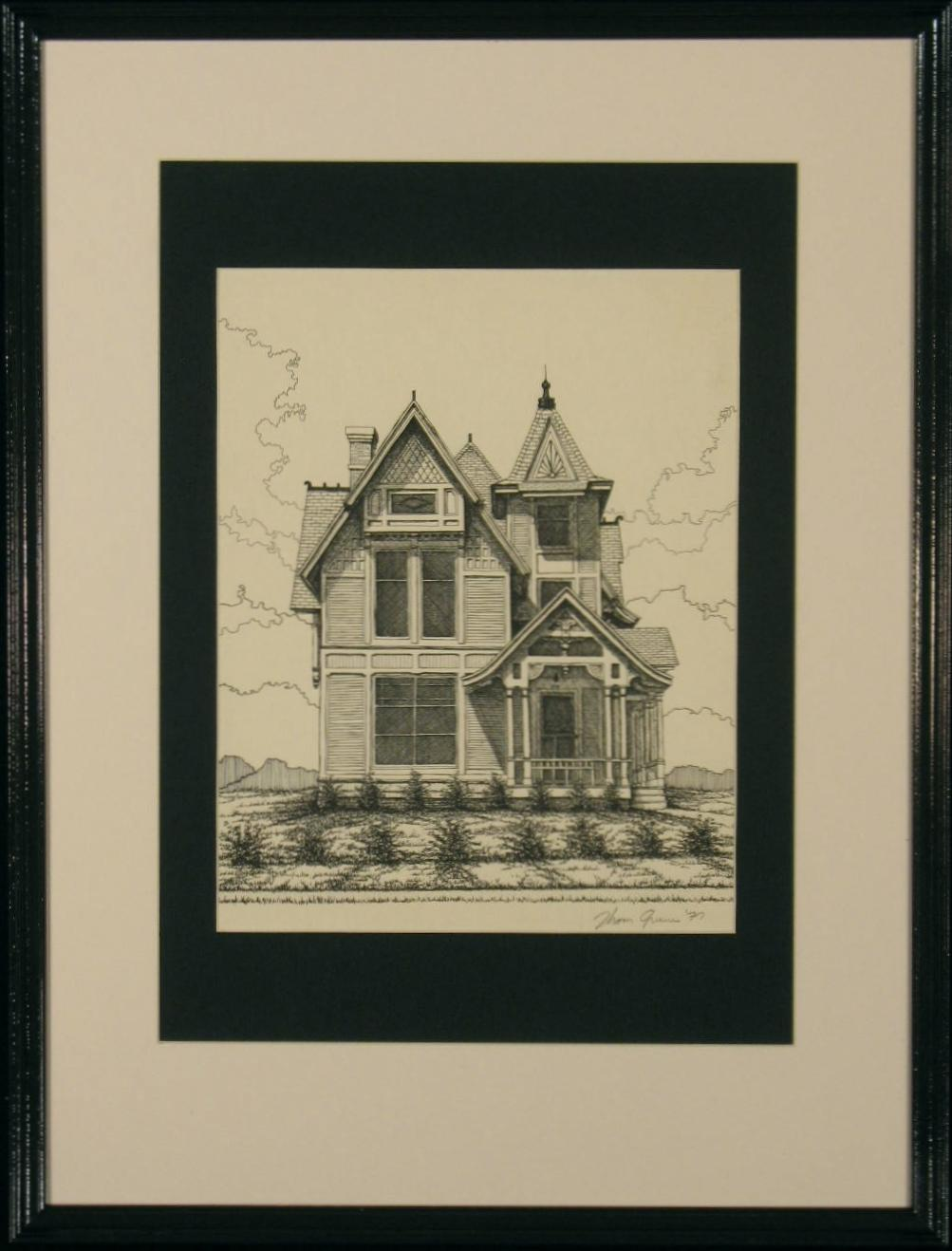 Thom Greene Pencil Signed Print: Victorian Turret House