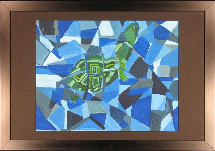 Kate Dinan Original Watercolor: Hidden Turtle