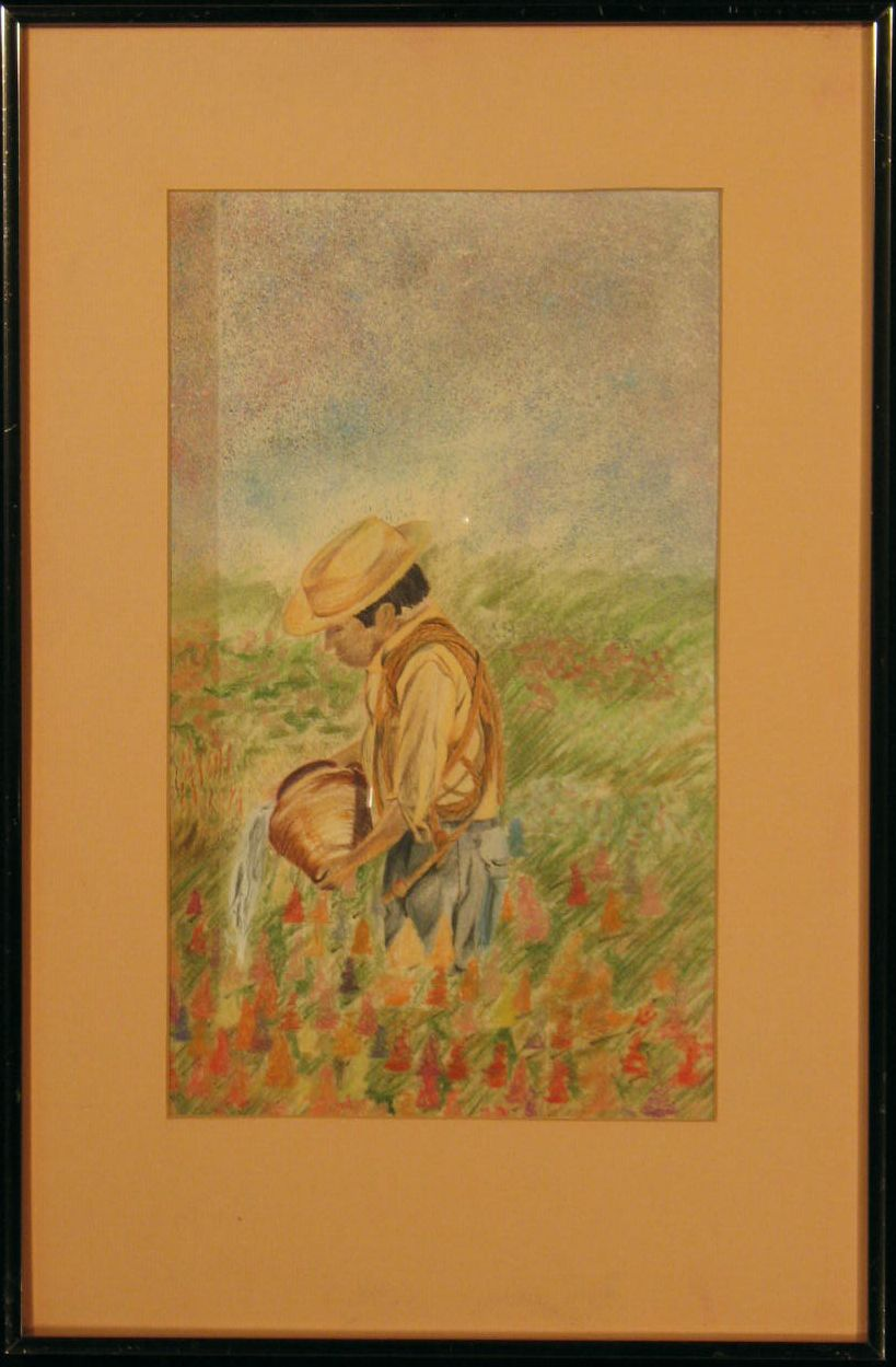 Original Pastel: Tending His Flowers