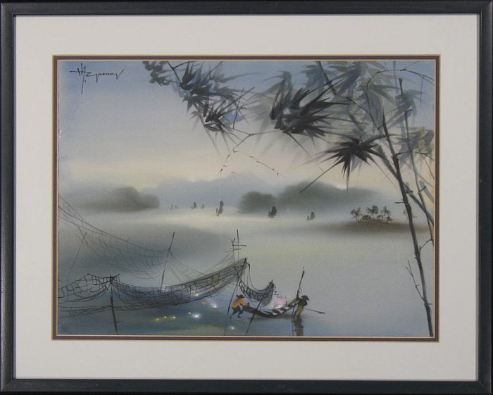 Original Painting on Silk: Silk Fisherman